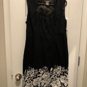 Kenar Black lined dress with white bottom flowers